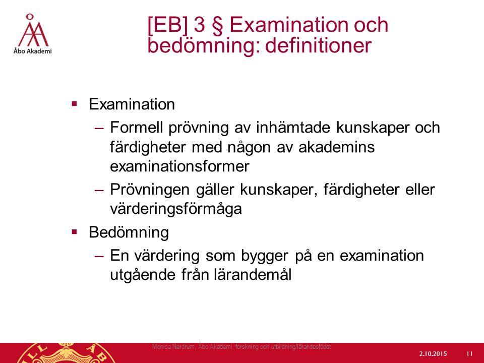 [EB] 3 § Examination och bedömning: definitioner